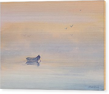 Misty Morning Peace Watercolor Painting Wood Print by Michelle Wiarda