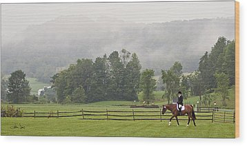 Misty Morning Ride Wood Print