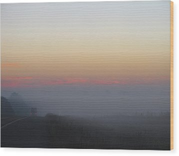 Misty Morning Road Wood Print by Wendy J St Christopher