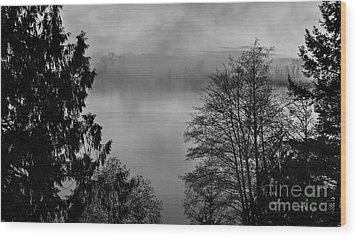 Misty Morning Sunrise Black And White Art Prints Wood Print by Valerie Garner