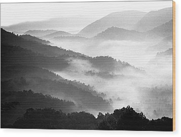 Misty Mountains Wood Print by Wendell Thompson