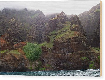 Misty Na Pali Coastline Wood Print by Amy McDaniel
