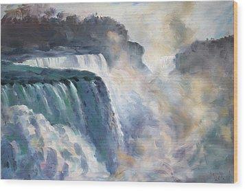 Misty Niagara Falls Wood Print by Ylli Haruni