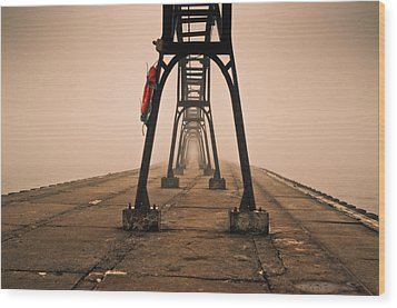 Wood Print featuring the photograph Misty Pier by Jason Naudi Photography