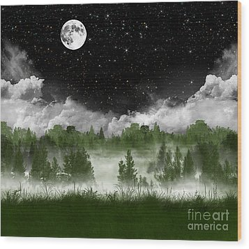 Misty Pines Wood Print by Thomas OGrady