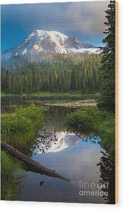 Misty Rainier Dawn Wood Print by Inge Johnsson