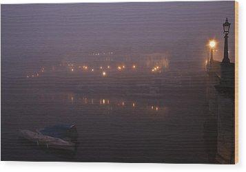 Misty Richmond Upon Thames Wood Print by Maj Seda