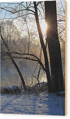 Misty River Sunrise Wood Print by Hanne Lore Koehler