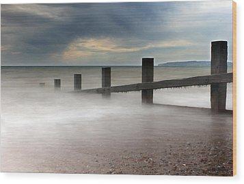 Misty Seascape Wood Print by Jay Harrison