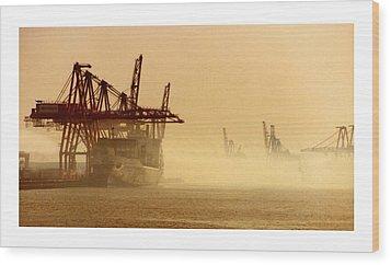 Misty Seattle Waterfront Wood Print by Jack Pumphrey