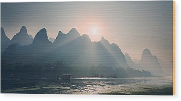 Wood Print featuring the photograph Misty Sunrise 4 by Afrison Ma