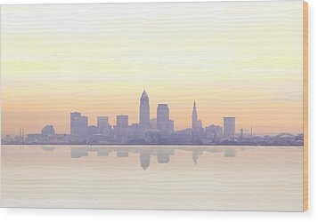 Misty Sunrise In Cleveland Wood Print by Kitty Ellis
