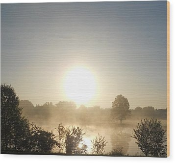 Wood Print featuring the photograph Misty Sunrise by Teresa Schomig