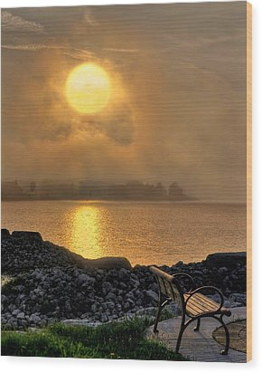 Misty Sunset At The Bay Wood Print