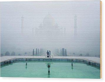 Misty Taj Mahal Wood Print