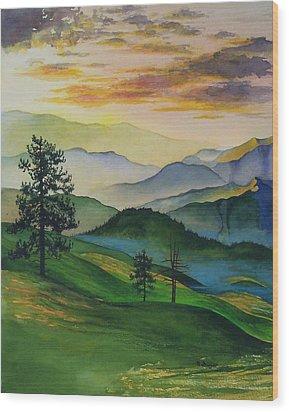 Misty Vista Wood Print