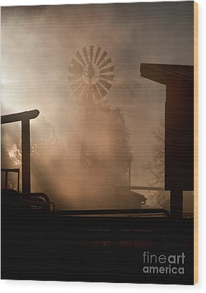 Wood Print featuring the photograph Misty Windmill by Steven Reed