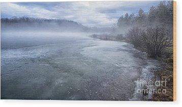 Misty Winter Morning On Lake Wood Print by Thomas R Fletcher