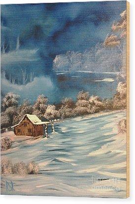 Misty Winter Wood Print by Nick