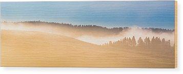Misty Yellowstone   Wood Print by Lars Lentz