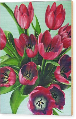 Mistys Tulips Wood Print by Sherry Robinson