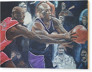 Mitch Richmond And Michael Jordan Wood Print by Paul Guyer