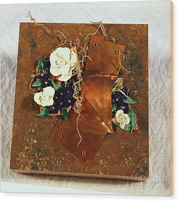 Mixed Media Flower Garden Wood Print by P Russell