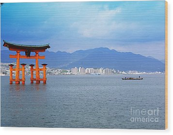 Wood Print featuring the photograph Miyajima Torii by Cassandra Buckley