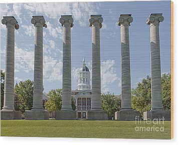 Mizzou Jesse Hall And Columns Wood Print