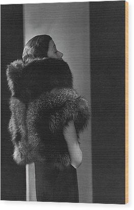 Mlle. Koopman Wearing A Fur Jacket Wood Print by George Hoyningen-Huene