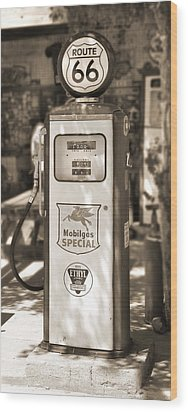 Mobilgas Special - Tokheim Pump  - Sepia Wood Print by Mike McGlothlen