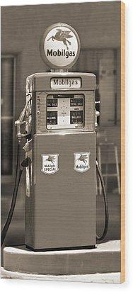 Mobilgas - Wayne Double Gas Pump 2 Wood Print by Mike McGlothlen