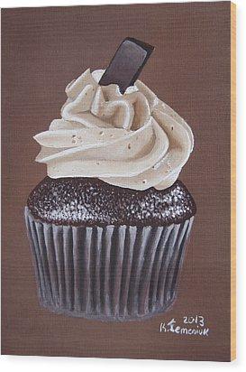 Mocha Cupcake Wood Print by Kayleigh Semeniuk