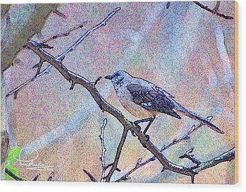 Wood Print featuring the photograph Mocking Bird by Ludwig Keck
