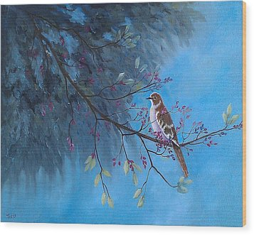 Wood Print featuring the painting Mockingbird Happiness by Suzanne Theis