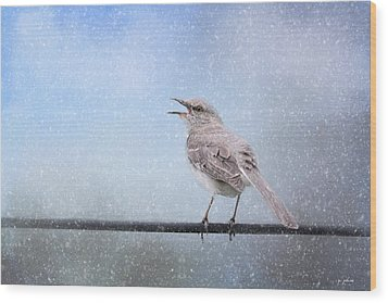 Mockingbird In The Snow Wood Print by Jai Johnson