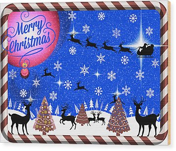 Mod Cards - Reindeer Games - Merry Christmas IIi Wood Print by Aurelio Zucco