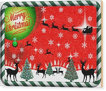 Mod Cards - Reindeer Games - Merry Christmas Wood Print by Aurelio Zucco