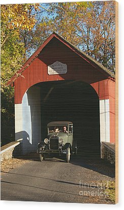 Model A Ford At Knecht's Bridge Wood Print