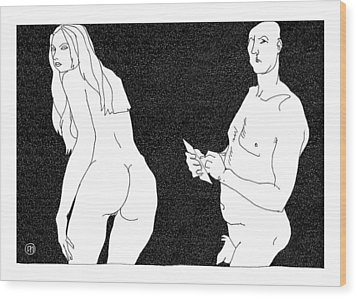 Model And Artist 10 Wood Print by Leonid Petrushin