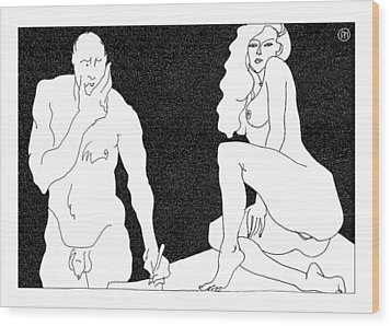 Model And Artist 18 Wood Print by Leonid Petrushin