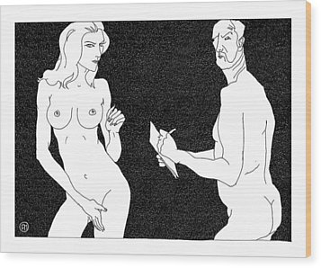 Model And Artist 19 Wood Print by Leonid Petrushin