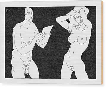 Model And Artist 20 Wood Print by Leonid Petrushin