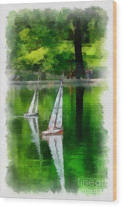 Model Boat Basin Central Park Wood Print by Amy Cicconi
