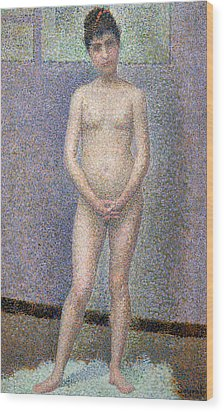 Model From The Front Wood Print by Georges Pierre Seurat