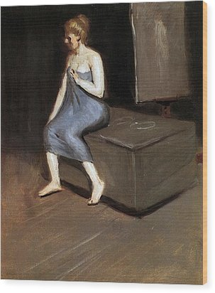 Model Sitting Wood Print by Edward Hopper