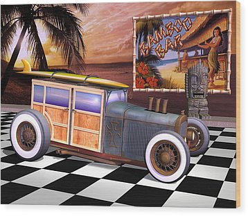 Model T Surf Woody Wood Print