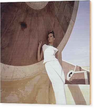 Model Veruschka Wearing A Two-piece Dress Wood Print