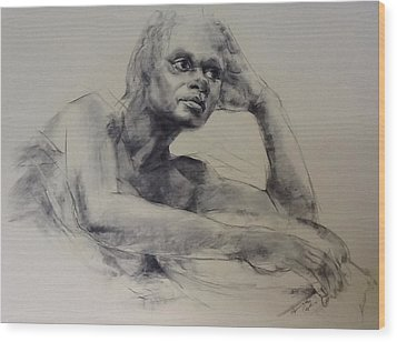Model With Basket Wood Print by Stephen Gwoktcho