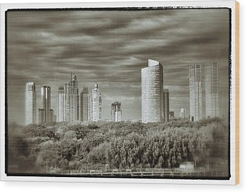 Modern Buenos Aires Black And White Wood Print by For Ninety One Days
